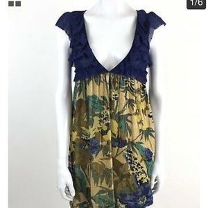 Free People-Lace/Gold & Floral Velvet dress
